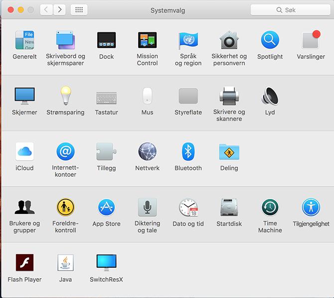 Åpne systemvalg på mac