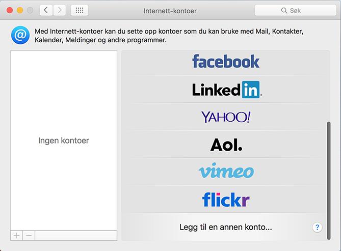 Internettkontoer på Mac