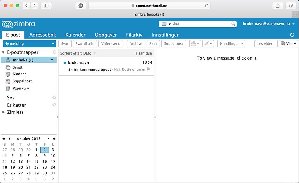 innlogget på webmail