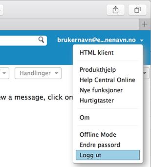 logge ut av webmail